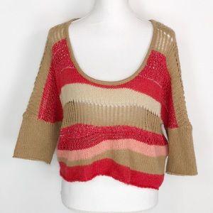 Free People Crop Top Open Knit Sweater